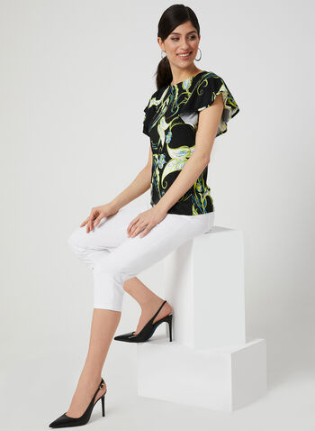 Leaf Print Flutter Sleeve Top, Black, hi-res