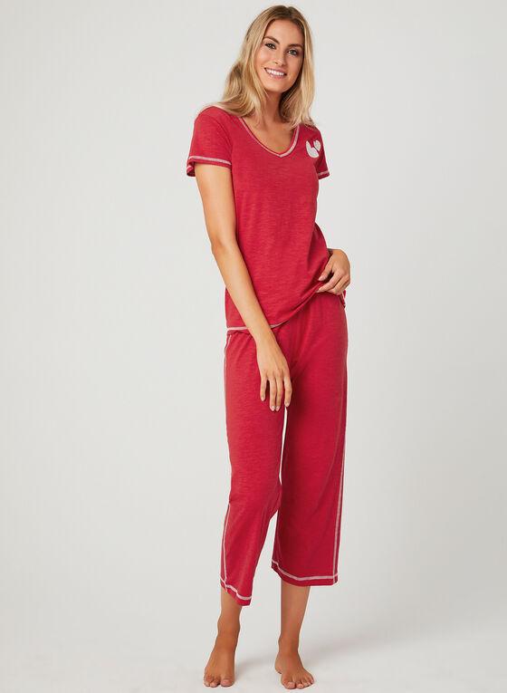 Bellina - Contrast Stitch Pajama Set, Red, hi-res