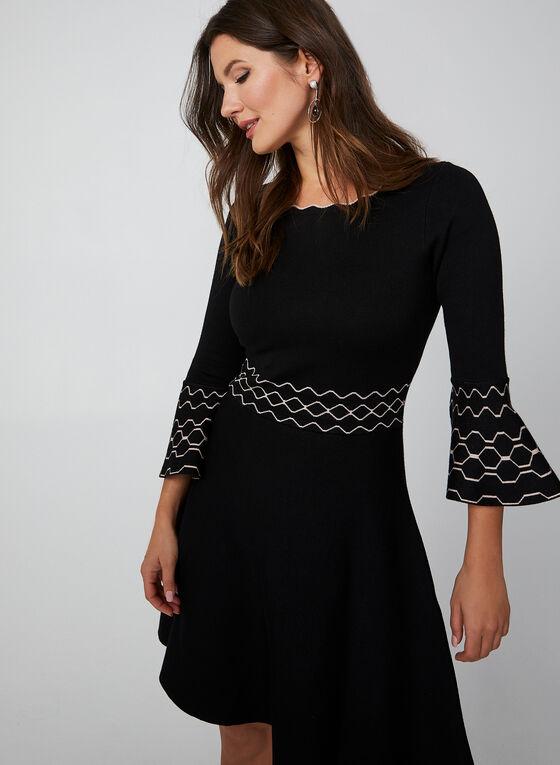 3/4 Bell Sleeve Knit Dress, Black