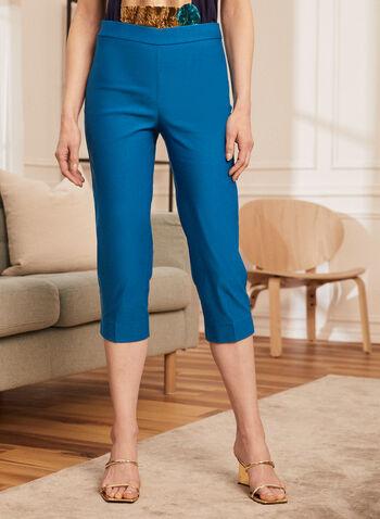 Straight Leg Pull On Capris, Blue,  spring summer 2021, capris, bottoms, straight leg, pull on, pull-on, elastic waist, side slit, satin effect, satin like, modern fit, stretch