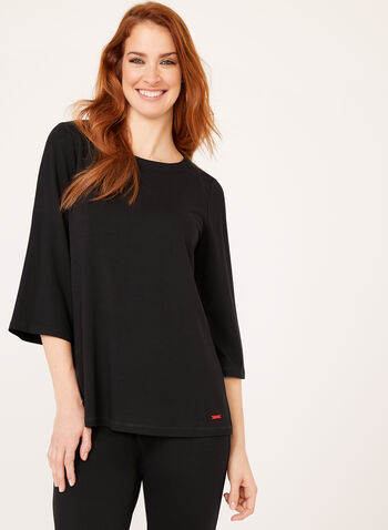 ¾ Sleeve Boat Neck Top , Black, hi-res