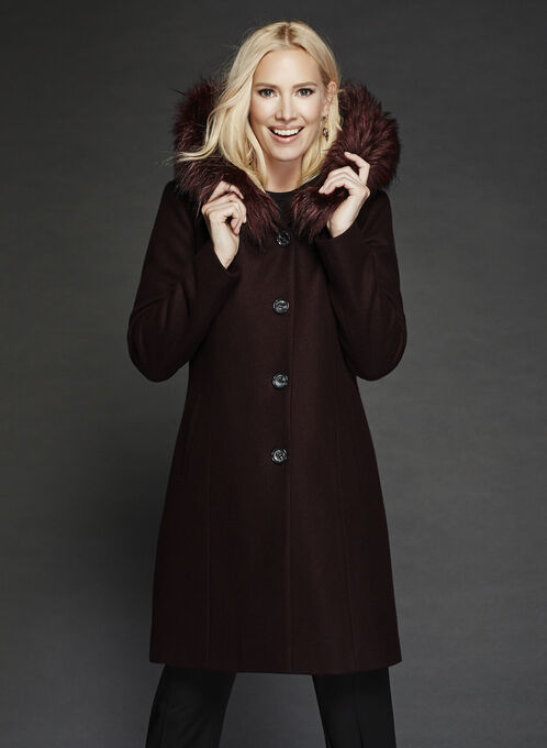 Hooded Wool Like Coat, Purple, hi-res