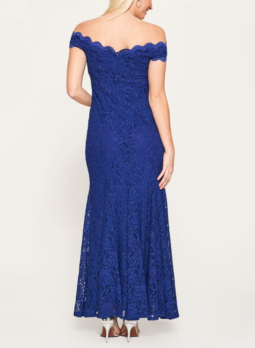 Glitter Lace Off The Shoulder Gown, Blue, hi-res