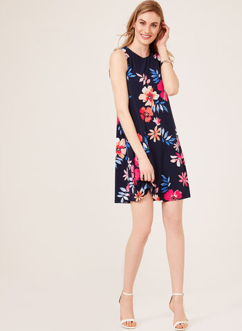 Jessica Howard - Floral Print A-Line Dress, Blue, hi-res