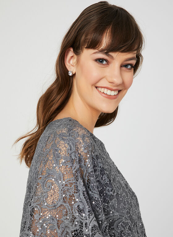 Sequin Lace Poncho Dress, Grey