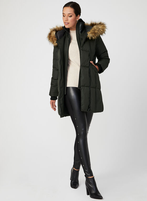 Hooded Faux-Down Quilted Coat, Green, hi-res
