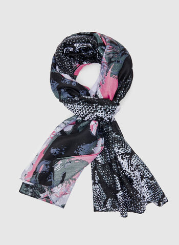 Mixed Print Scarf, Pink, hi-res