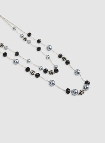 Double Strand Pearl Insert Necklace, Black, hi-res,  double necklace, long necklace, pearl necklace