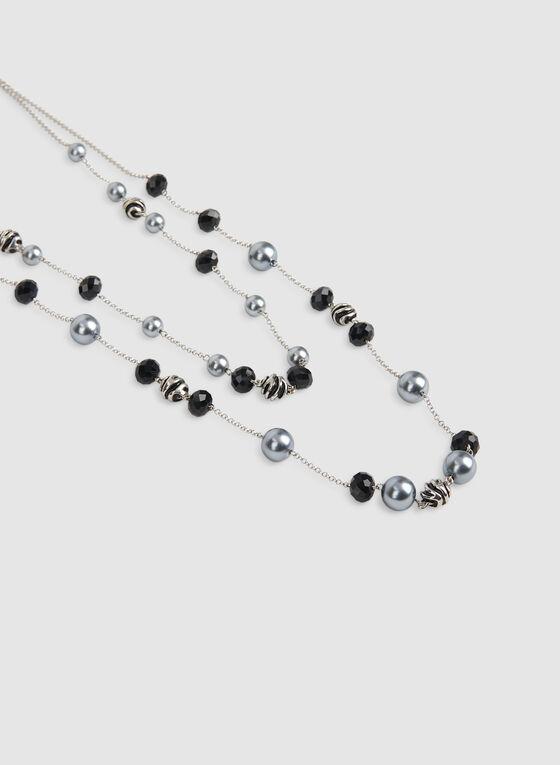 Collier à double chaîne et perles, Noir, hi-res