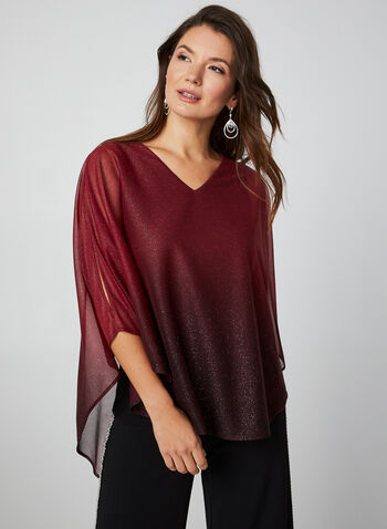 Glitter Mesh Poncho Blouse , Red, hi-res,  top, poncho, glitter mesh, back slit, v-neck, 3/4 sleeves, fall 2019, winter 2019
