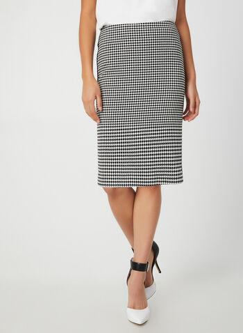 Houndstooth Print Skirt, Black,  pencil skirt. contrast trim, fall 2019, winter 2019
