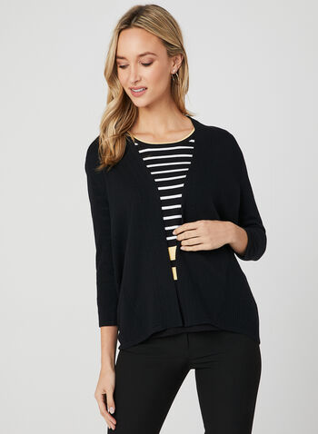 Open Front Knit Cardigan, Black, hi-res,