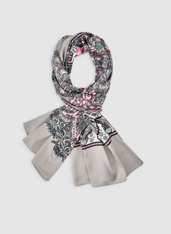 Lightweight Paisley Print Scarf, Grey, hi-res