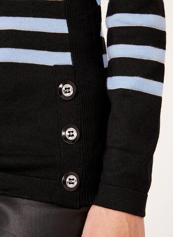 Pull rayé à col roulé et boutons décoratifs , Noir, hi-res