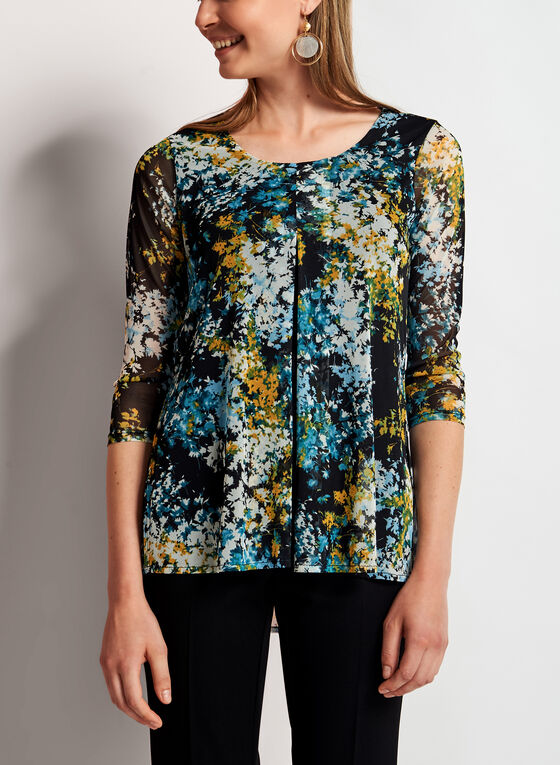 Floral Mesh Capelet Top, Black, hi-res
