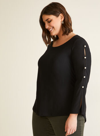 Pearl Button Detail Tunic, Black,  tunic, top, blouse, long sleeves, scoop neck, pearl, button detail, fall winter 2020
