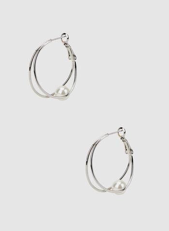 Double Hoop Earrings, Off White, hi-res