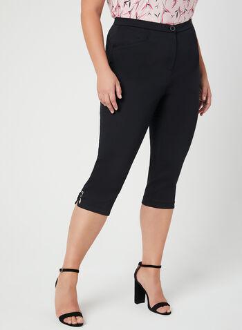 Signature Fit Straight Leg Capri Pants, Black, hi-res