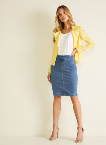 Blossom - Pull-On Denim Straight Skirt, Blue,  skirt, straight, denim, pull-on, pockets, spring summer 2020