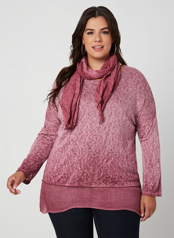 M Made in Italy - Haut superposé avec foulard, Rouge, hi-res