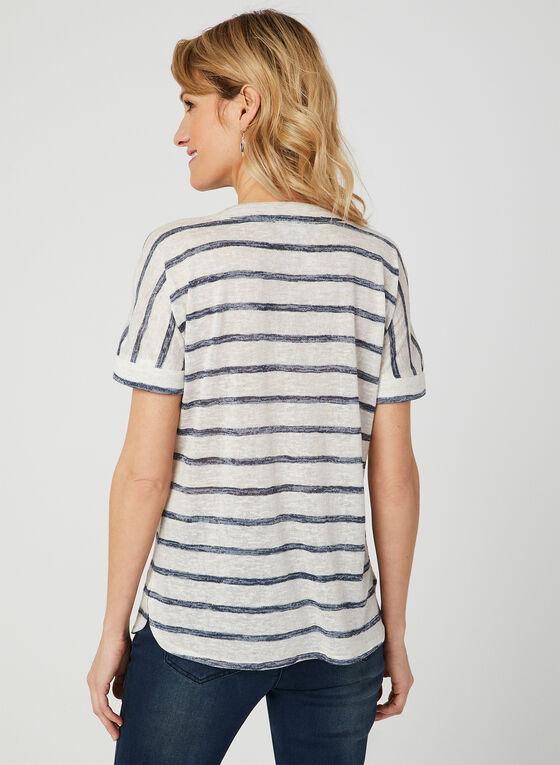 T-shirt rayé à encolure lacée, Bleu, hi-res
