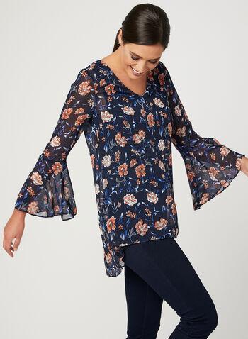 Floral Print Flutter Sleeve Blouse, Blue, hi-res