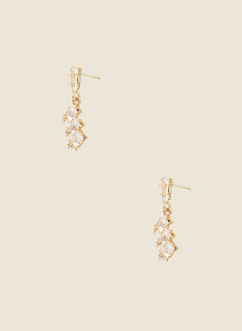 Crystal Dangle Earrings, Gold,  jewellery, accessories, earrings, metallic, crystal, cluster, dangle, fall winter 2020