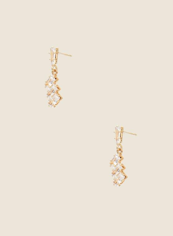 Crystal Dangle Earrings, Gold