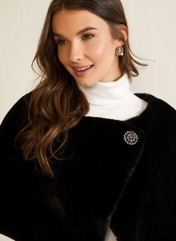 Short Faux Fur Wrap, Black,  fall winter 2020, outerwear, wrap, cape, faux fur, brooch