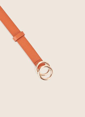 Ceinture en cuir à double boucle, Brun,  ceinture, double boucle, anneau, cuir, printemps été 2020