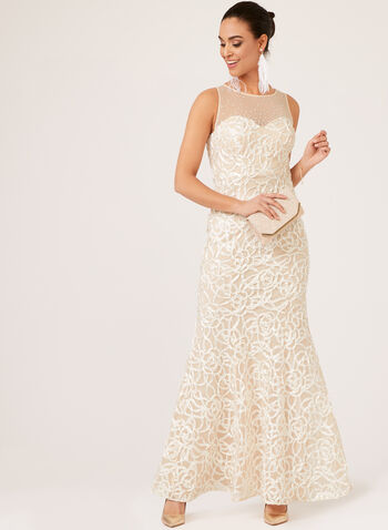 Illusion Neck Soutache Mermaid Gown, Off White, hi-res