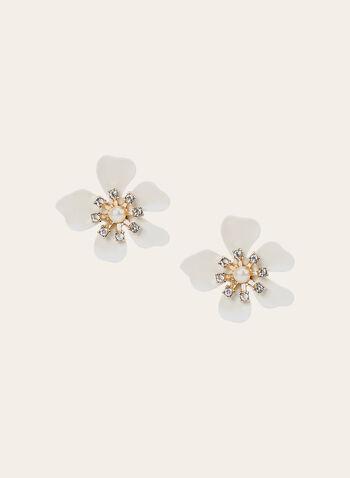Clous d'oreilles à forme de fleurs, Blanc, hi-res