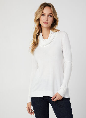 Long Sleeve Cowl Neck Sweater, Off White,  cowl neck, sweater, knit, long sleeves, top, cashmere-like, fall 2019, winter 2019