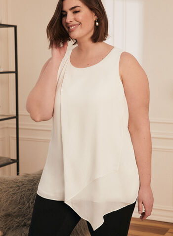Sleeveless Layered Blouse, White,  blouse, sleeveless, asymmetric, chiffon, layered, fall winter 2020