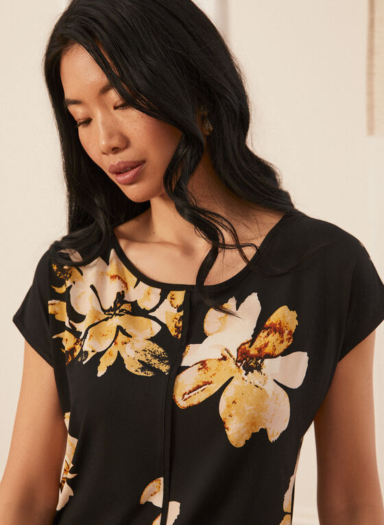 Floral Print Drop Shoulder Top, Black