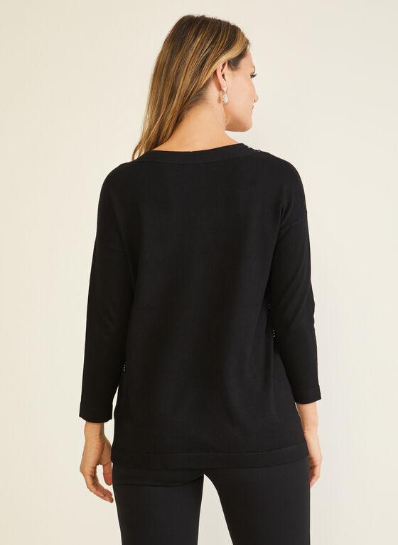 Stud Detail V-Neck Sweater, Black