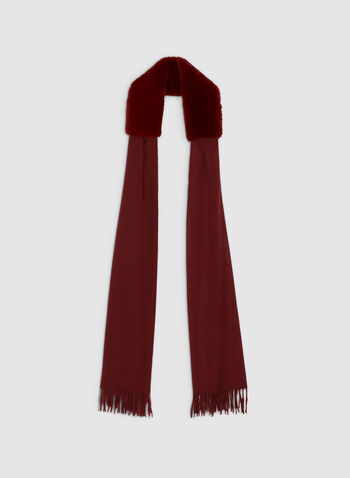 Faux Fur Trim Scarf, Red,  scarf, faux fur, fringe, fall 2019, winter 2019
