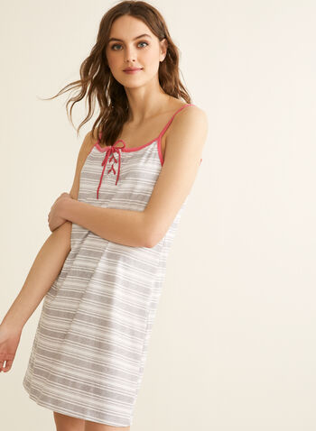 Claudel Lingerie - Printed Short Nightgown , Grey,  spring summer 2020, sleeveless, lace-up neckline, stripe print, contrast trim