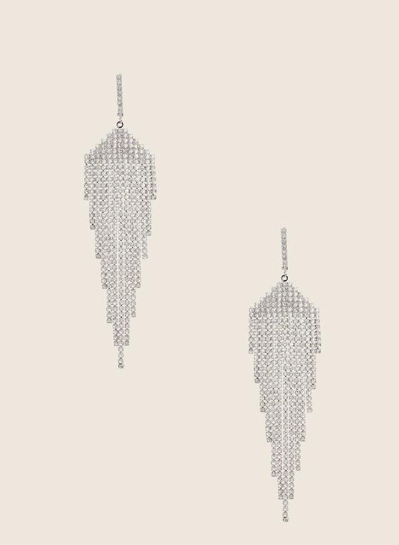 Boucles d'oreilles chandelier à cristaux, Argent