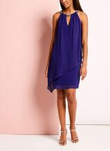 Drape Front Embellished Keyhole Dress, Blue, hi-res
