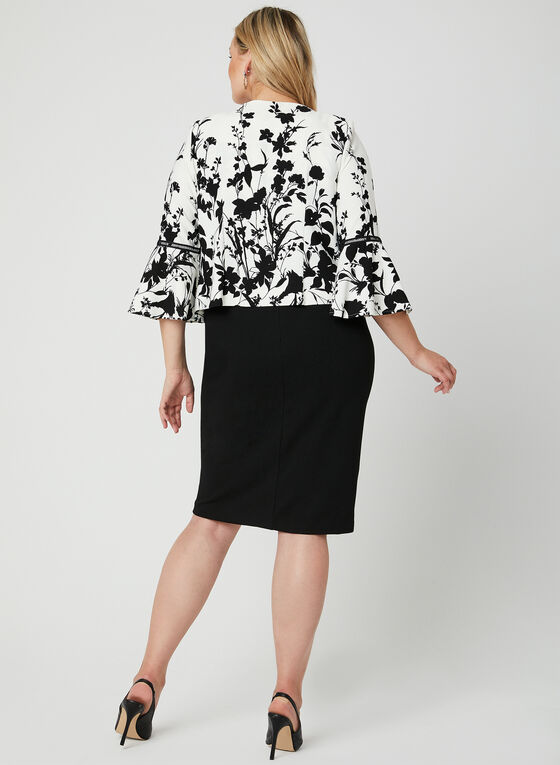 Robe et blazer à fleurs, Noir, hi-res