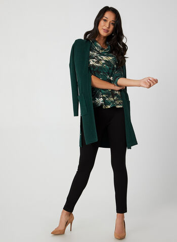 Abstract Print Top, Green, hi-res,  Canada, top, 3/4 sleeves, abstract print, cowl neck, fall 2019, winter 2019