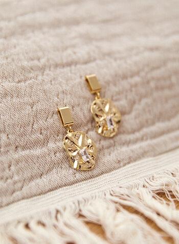 Boucles d'oreilles pendantes à cristaux, Or,  boucles d'oreilles, accessoire, bijou, pendantes, doré, argenté, brillantes, cristaux, pierres, tige, automne 2021