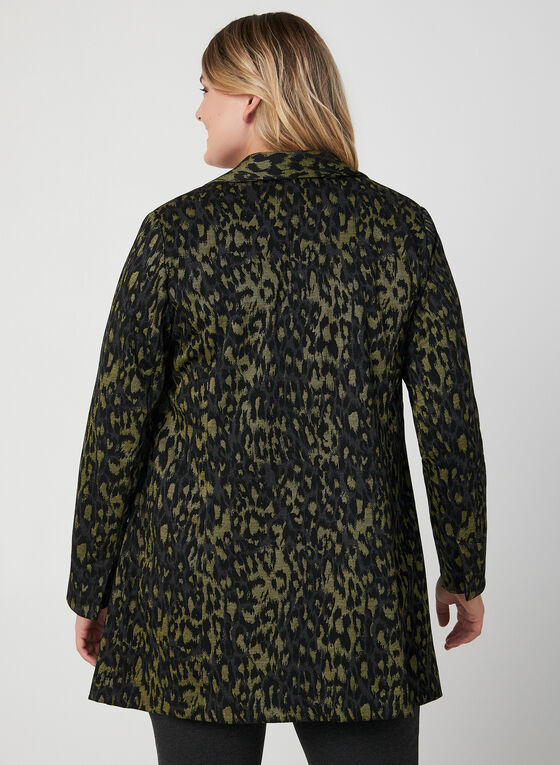 Leopard Print Duster Jacket, Black, hi-res