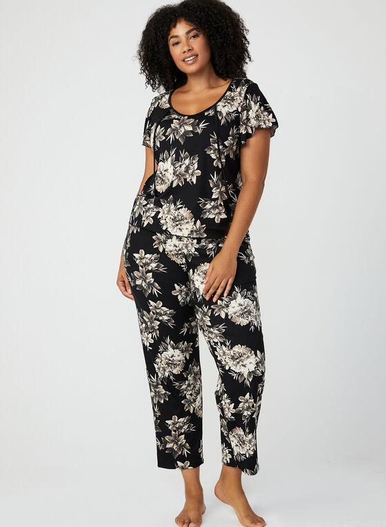 Hamilton - Pyjama 2 pièces motif floral, Noir, hi-res