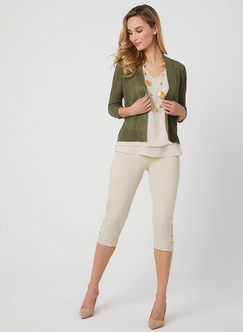 Cardigan à détails lacés aux manches, Vert,  tricot pointelle, printemps 2019, ouvert, manches ¾, œillet
