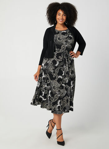 Paisley Print Long Jersey Dress, Black,  jersey, floral and paisley print, long dress, fit and flare, fall 2019, autumn 2019