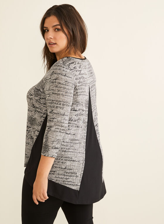 ¾ Sleeve Text Print Top, Grey