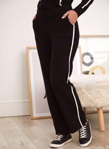 Contrast Trim Pull-On Pants, Black,  pants, pull on, straight leg, pockets, contrast trim, fall winter 2021