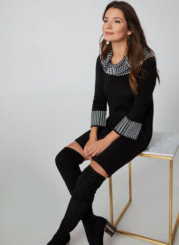 Houndstooth Print Cowl Neck Sweater Dress, Black, hi-res,  sweater dress, dress, houndstooth print, printed dress, 3/4 sleeves dress, 3/4 sleeves, cowl neck, fall 2019, winter 2019